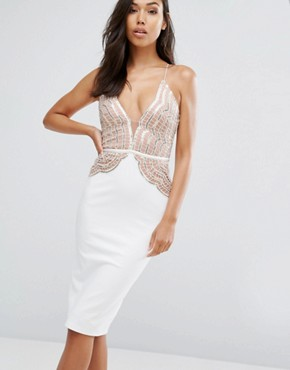 photo Pencil Dress with Scallop Lace Sequin Bodice by Rare London, color Cream/Rose Gold - Image 1