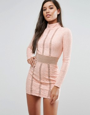 photo Mesh Insert Lace Pencil Dress by Rare London, color Pink/Nude - Image 1