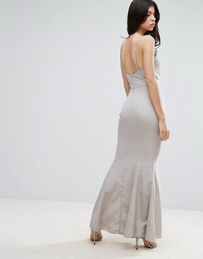 photo Frill Detail Maxi Dress by Missguided, color Grey - Image 2