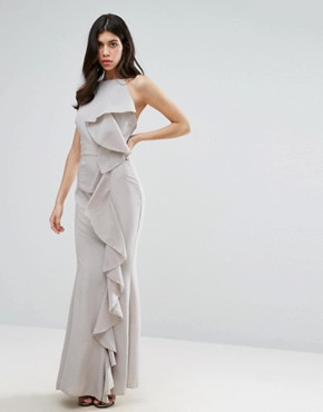 photo Frill Detail Maxi Dress by Missguided, color Grey - Image 1