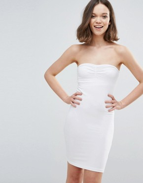 photo Bandeau Bodycon Dress by mbyM, color Optical White - Image 1