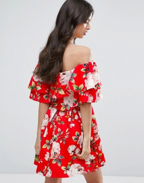 photo Rose Floral Off Shoulder Ruffle Mini Dress by ASOS PETITE, color Red - Image 2