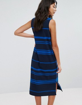 photo Engineered Stripe Jersey Shift Dress by YMC, color Navy - Image 2