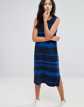 photo Engineered Stripe Jersey Shift Dress by YMC, color Navy - Image 1