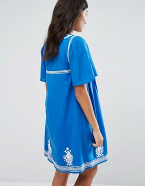 photo Floral Embroidery Dress by YMC, color Blue - Image 2