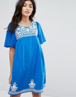 photo Floral Embroidery Dress by YMC, color Blue - Image 1