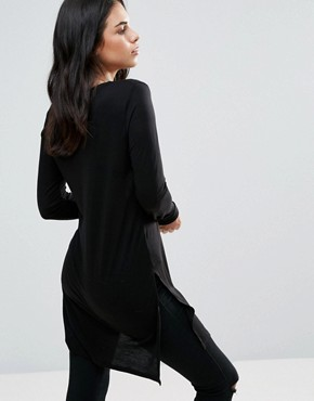 photo Long Sleeve Skater Jersey Dress by Dex, color Black - Image 2