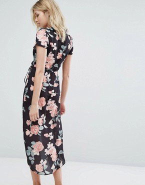 photo Wrap Dress with Frill Wrap and High Low Hem by Oh My Love, color Dusky Vintage Rose - Image 2