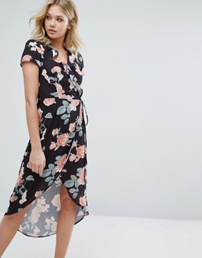 photo Wrap Dress with Frill Wrap and High Low Hem by Oh My Love, color Dusky Vintage Rose - Image 1