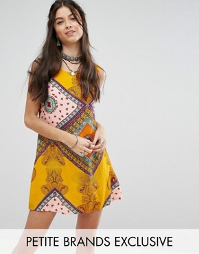 photo Sleeveless Shift Dress in Bright Paisley Print by Glamorous Petite, color Multi - Image 1