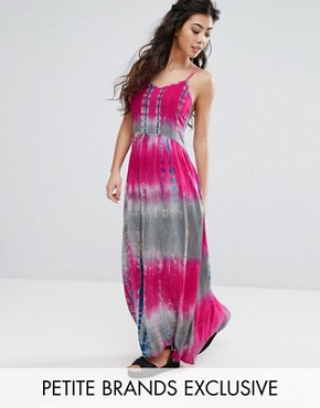 photo Cami Strap Maxi Dress in Tie Dye Print by Glamorous Petite, color Multi - Image 1