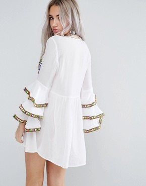 photo Embroidered Smock Dress with Frill Layered Sleeve Detail by Glamorous Petite, color White - Image 2