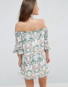 photo Allover Printed Off Shoulder Skater Dress with Fluted Sleeve Detail by Glamorous Petite, color Multi - Image 2