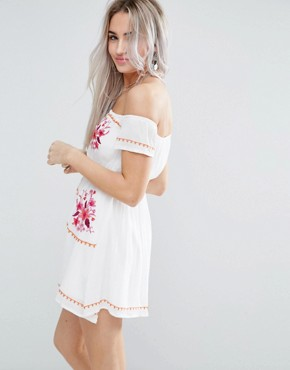 photo Off Shoulder Embroidered Folk Dress by Glamorous Petite, color Cream - Image 2