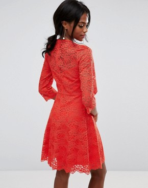 photo Lace Sleeve Skater by Oasis, color Orange - Image 2