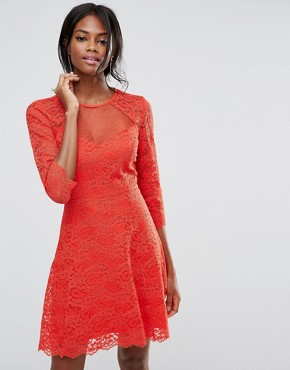 photo Lace Sleeve Skater by Oasis, color Orange - Image 1