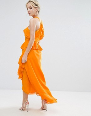 photo Halterneck Ruffle Maxi Dress by True Decadence Petite, color Orange - Image 2