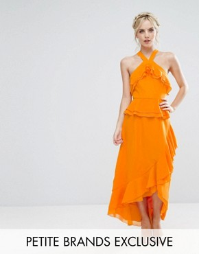 photo Halterneck Ruffle Maxi Dress by True Decadence Petite, color Orange - Image 1