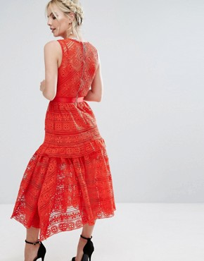 photo All Over Lace Prom Skater Dress by True Decadence Petite, color Red - Image 2