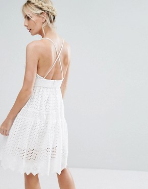 photo Wrap Front Allover Lace Crochet Full Prom Dress by True Decadence Petite, color White - Image 2