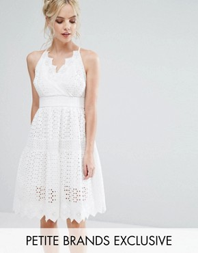 photo Wrap Front Allover Lace Crochet Full Prom Dress by True Decadence Petite, color White - Image 1