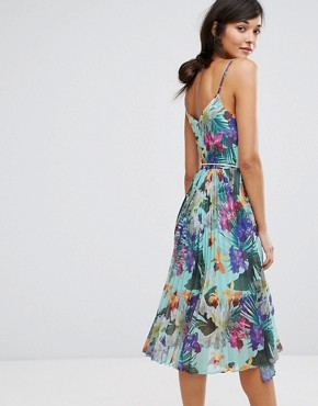 photo Tropical Pleat Midi Cami Dress by Oasis, color Multi - Image 2