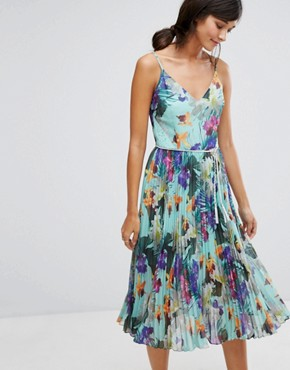 photo Tropical Pleat Midi Cami Dress by Oasis, color Multi - Image 1