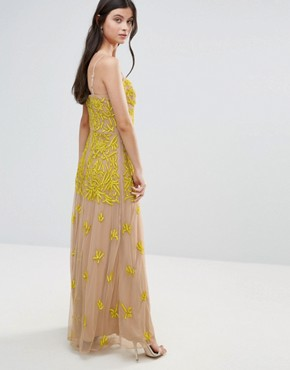 photo Allover Embellished Corset Top Maxi Dress by Maya Petite, color Yellow - Image 2