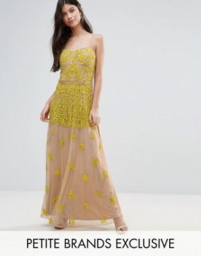 photo Allover Embellished Corset Top Maxi Dress by Maya Petite, color Yellow - Image 1