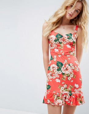photo Mini Sundress with Lace Up Back and Peplum Hem in Red Floral by ASOS, color Floral Print - Image 1