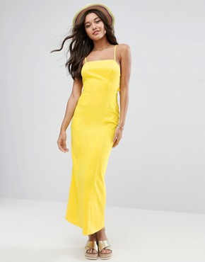 photo Tie Back Maxi Dress by ASOS, color Yellow - Image 2
