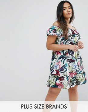 photo Bardot Dress with Frill by NVME Plus, color Multi - Image 1