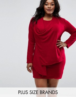 photo Drape Dress by Elvi Plus, color Red - Image 1