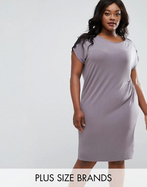 photo Ruched Dress with Lace Trim by Elvi Plus, color Grey - Image 1