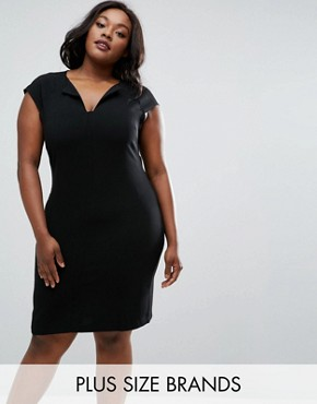 photo Dress with Slit Neck by Elvi Plus, color Black - Image 1
