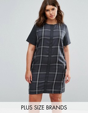 photo Checked Dress by Elvi Plus, color Grey - Image 1