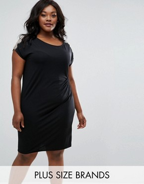 photo Ruched Dress with Lace Trim by Elvi Plus, color Black - Image 1