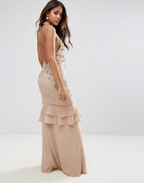 photo High Neck Embellished Plunge Front Maxi Dress with Frill Skirt Detail by Maya Tall, color Blush - Image 2