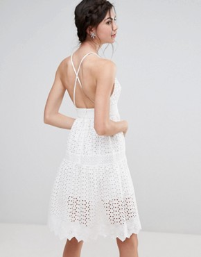 photo Wrap Front Allover Lace Crochet Full Prom Dress by True Decadence Tall, color White - Image 2