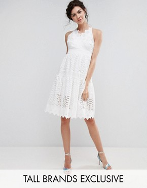 photo Wrap Front Allover Lace Crochet Full Prom Dress by True Decadence Tall, color White - Image 1