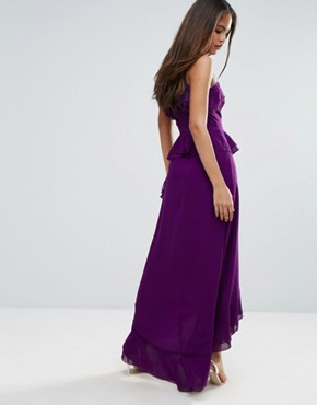 photo Halterneck Ruffle Maxi Dress by True Decadence Tall, color Purple - Image 2