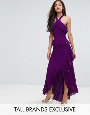 photo Halterneck Ruffle Maxi Dress by True Decadence Tall, color Purple - Image 1