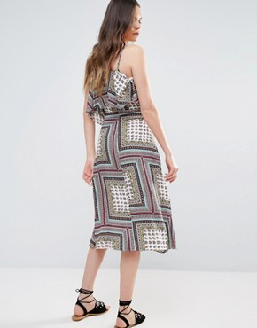 photo Cold Shoulder Midi Swing Dress by Glamorous Tall, color Multi - Image 2