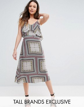 photo Cold Shoulder Midi Swing Dress by Glamorous Tall, color Multi - Image 1
