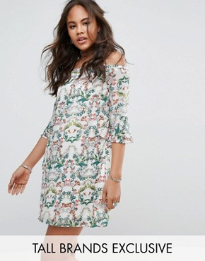 photo Allover Printed Off Shoulder Skater Dress with Fluted Sleeve Detail by Glamorous Tall, color Multi - Image 1