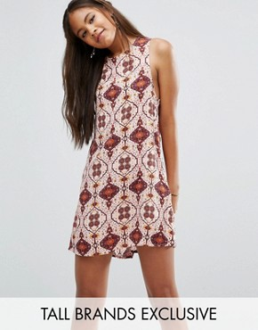 photo Sleeveless Shift Dress Pink Tile Print by Glamorous Tall, color Multi - Image 1