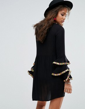 photo Embroidered Smock Dress with Frill Layered Sleeve Detail by Glamorous Tall, color Black - Image 2