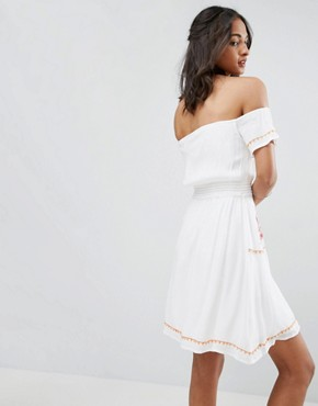 photo Off Shoulder Embroidered Folk Dress by Glamorous Tall, color Cream - Image 2