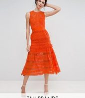 photo Allover Lace Prom Midi Skater Dress by True Decadence Tall, color Orange - Image 1