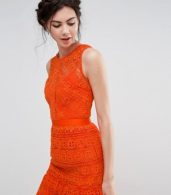 photo Allover Lace Prom Midi Skater Dress by True Decadence Tall, color Orange - Image 3